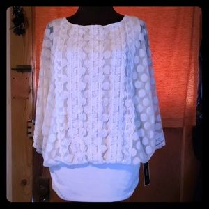 Alfani laced lined top off white